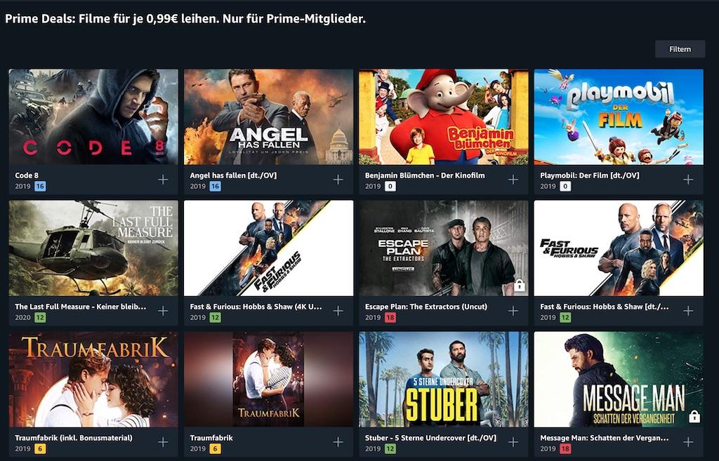 Amazon Prime Video: 13 Leihfilme zum Preis von je 0,99 Euro
