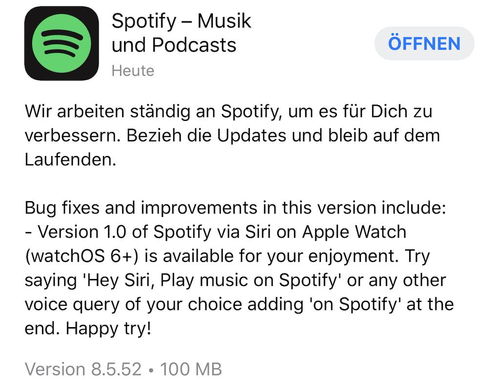 Spotify: Update bringt Siri-Support für die Apple Watch (watchOS 6 oder neuer) › Macerkopf