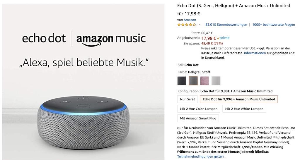 Amazon Echo Dot + 1 Monat Amazon Music Unlimited für 18 Euro