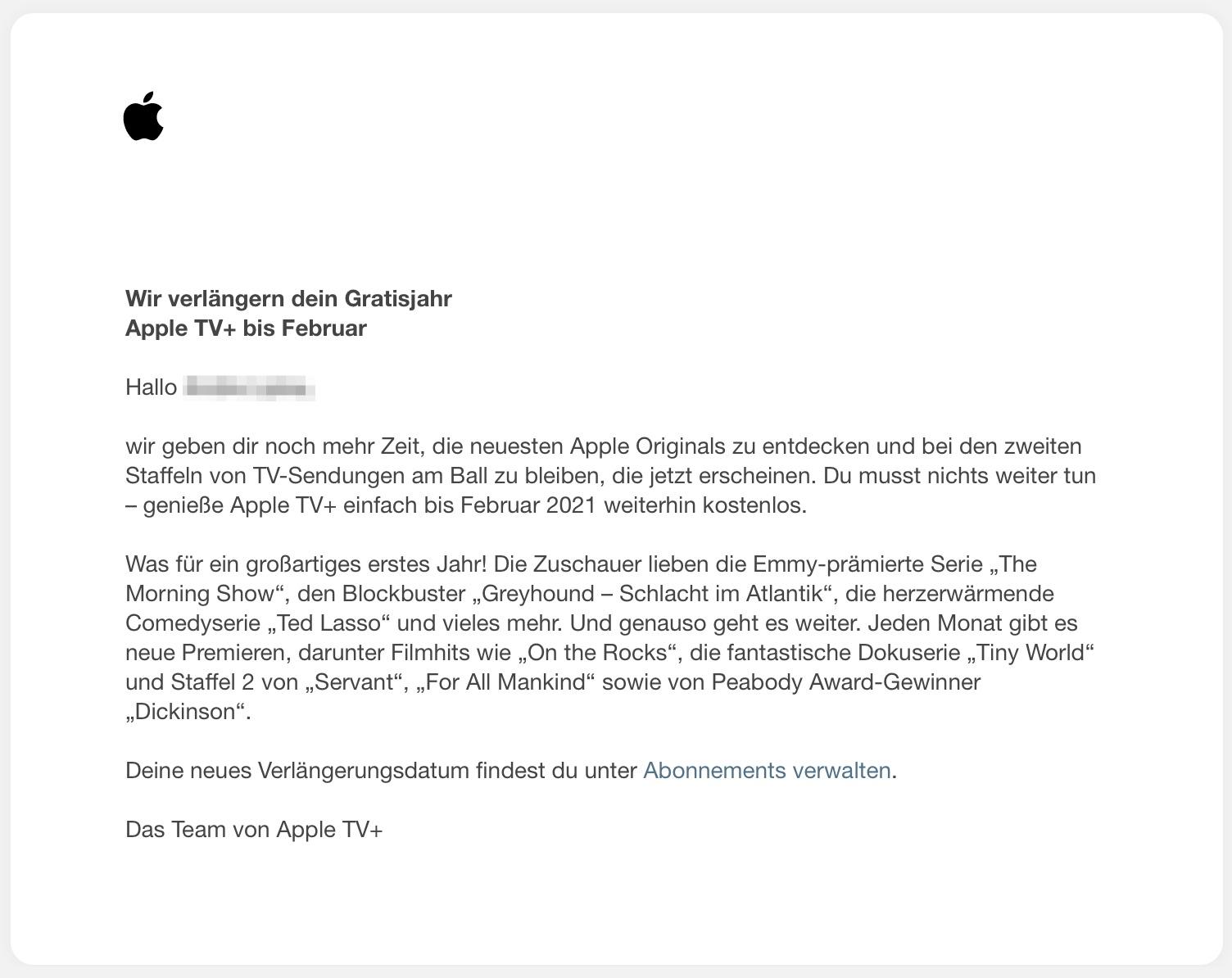 Offiziell: Apple TV+ Gratisjahr wird bis Februar 2021 verlängert › Macerkopf