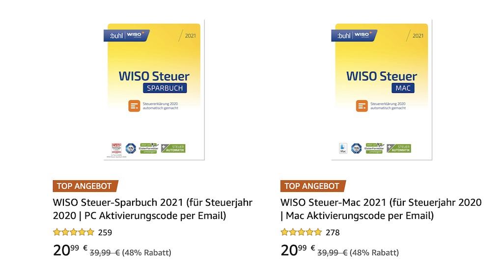 WISO Steuer 2021 für Mac und PC als Amazon Winter Angebot ...